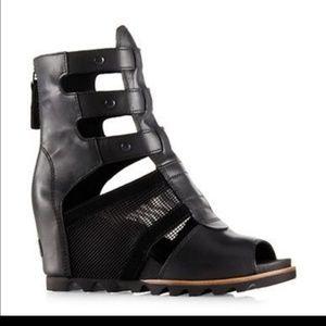 Sorel Joanie Black Leather Gladiator Sandal